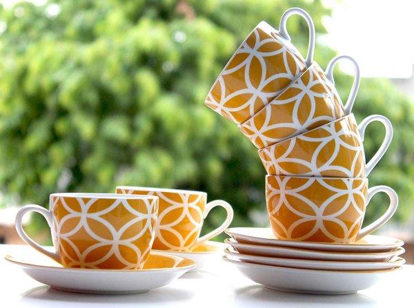 Ceramic Fine Yellow Color Cups & Saucer Set,  200 ML