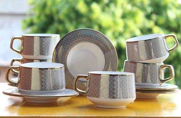 Indian Ceramic Fine Rich Gold Pine Work Cup Saucer, 205 ml