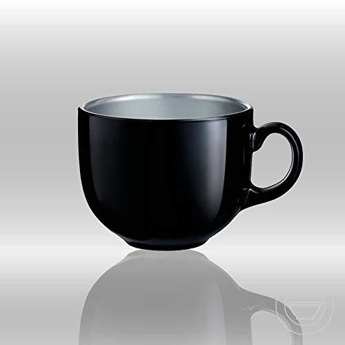 Indian Ceramic  Jumbo  Coffee  Mug  - 400 ML - Black , Set of 1