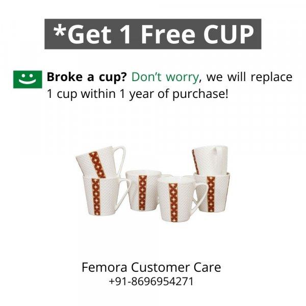 Indian Ceramic  Golden Ambush Red  Tea Cup - 6 pcs- 160 ML