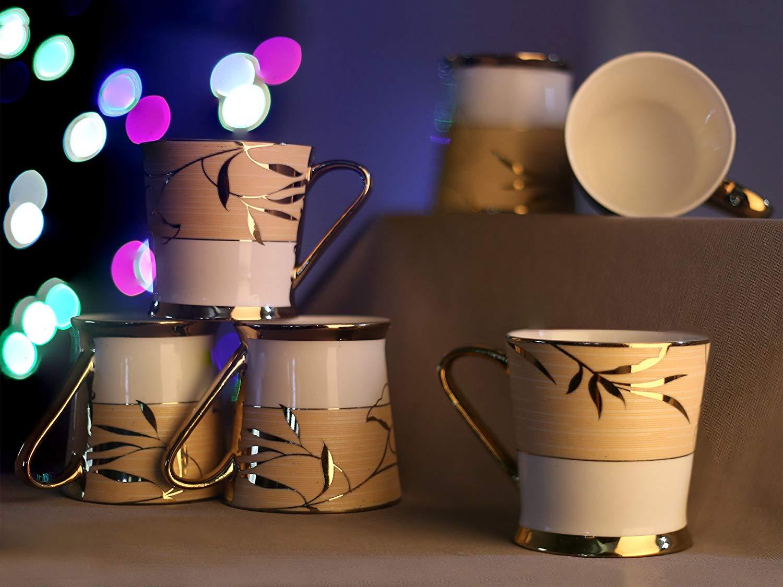 Indian Ceramic Fine Premium Gold Tea Cup Set, 200ml