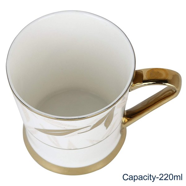 Indian Ceramic Fine Premium Gold Tea Mug Set, 200 ml