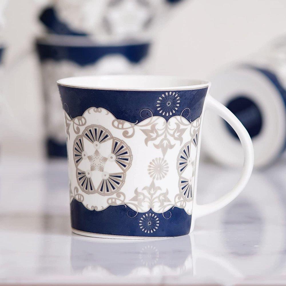 Indian Ceramic Fine Bone China Handcrafted Blue Design Tea Cup - 6 Pcs,150 ML - Small Serving