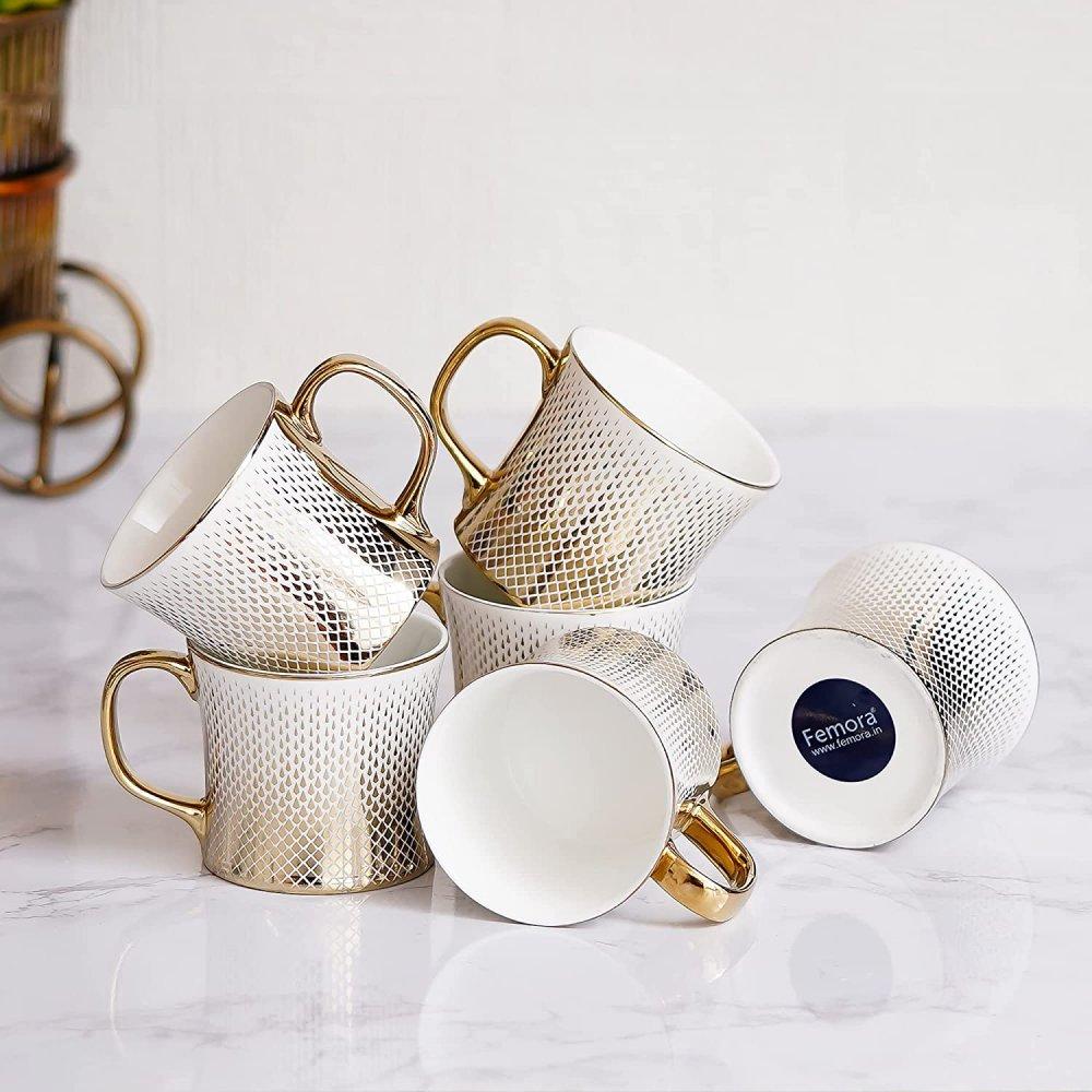 Indian Ceramic Fine Bone China Gradient Gold Line Tea Cups - Set of 6, 150 ML