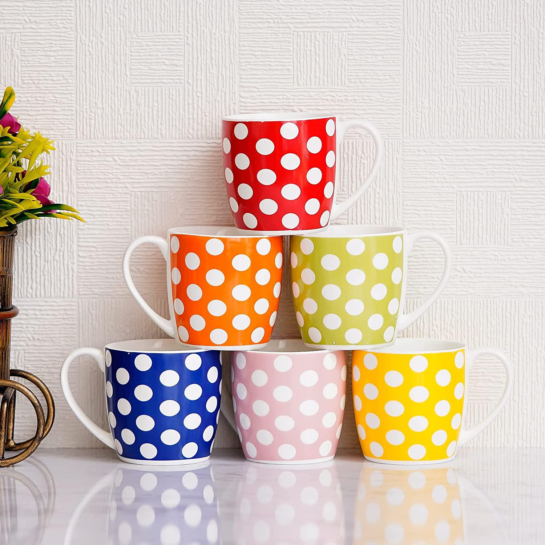 Indian Ceramic Fine Bone China Polka Dots Multicolour Tea Cup - 6 Pcs, 160 ML