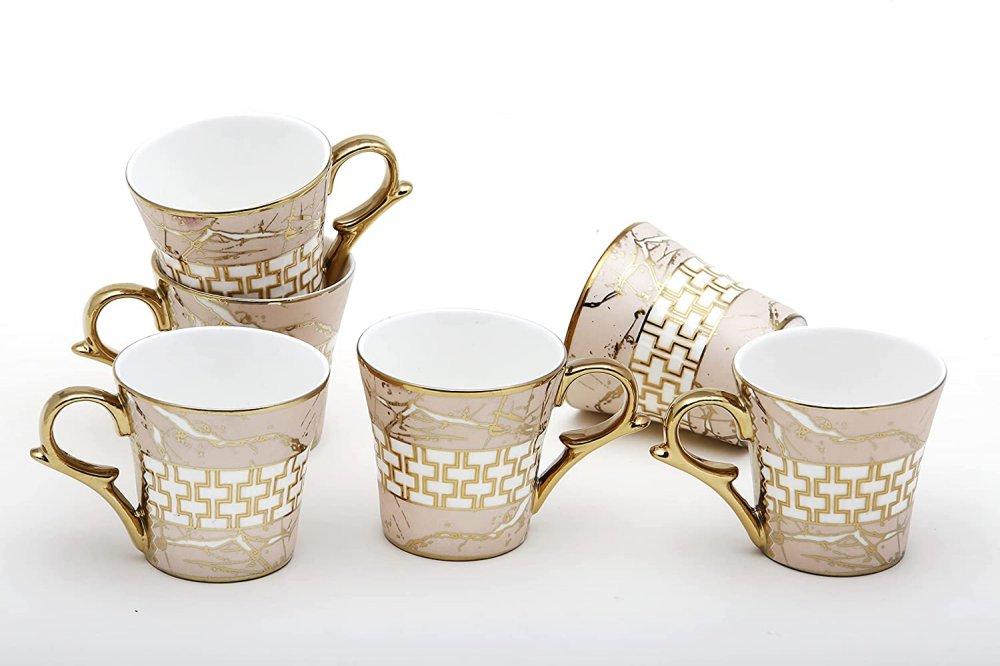 Indian Ceramic Fine Bone China Pink Gold Line Tea Cup - 6 Pcs, 155 ML