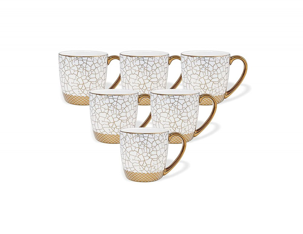 Indian Ceramic Fine Bone China Marble Gold Line Tea Cups - Set of 6, 170 ML