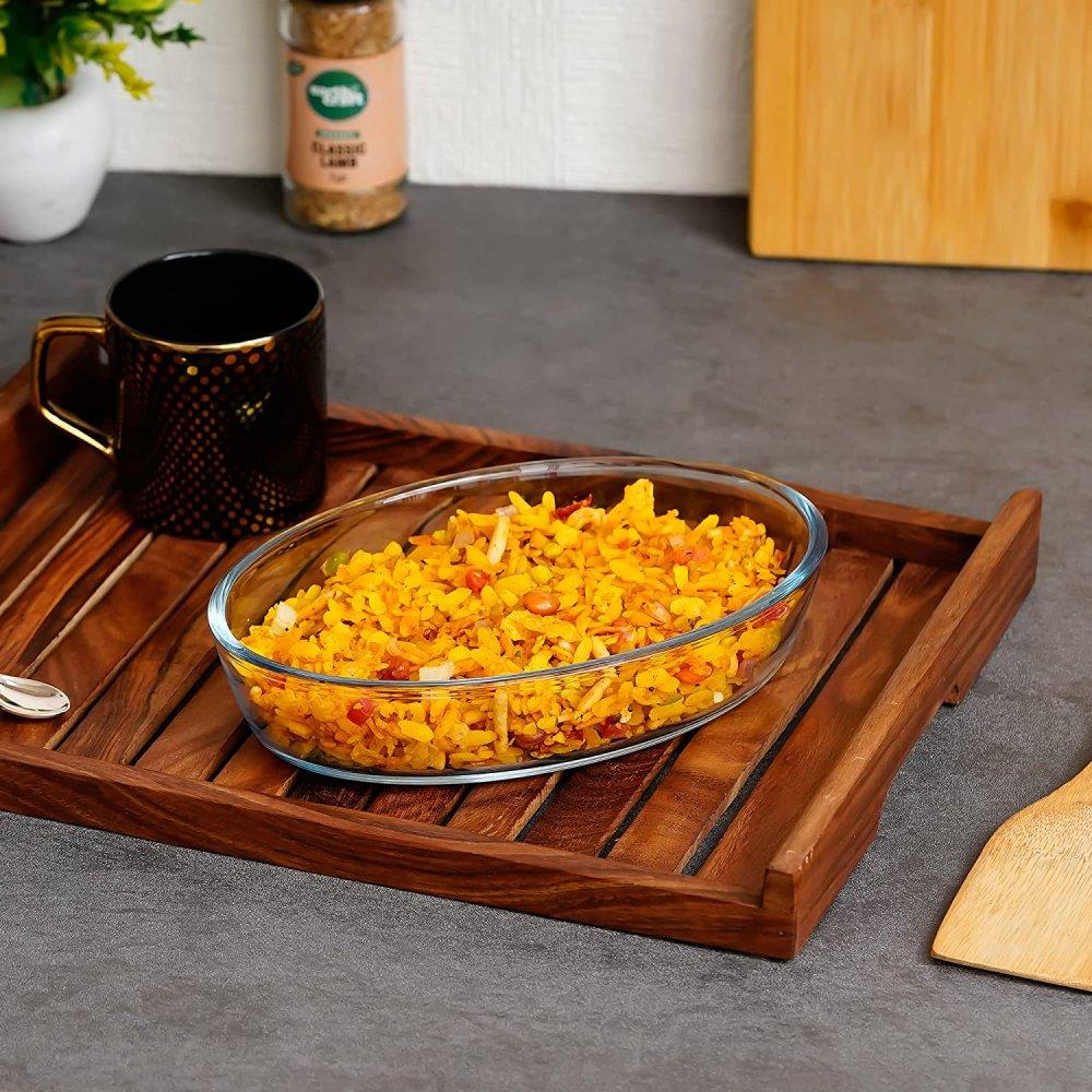 Borosilicate Glass Baking Oval Dish, 460 ML, Set of 1