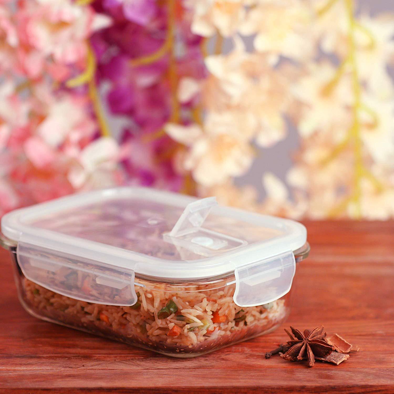 Borosilicate Glass Microwave Safe Rectangular Container, 620ml, Set of 2