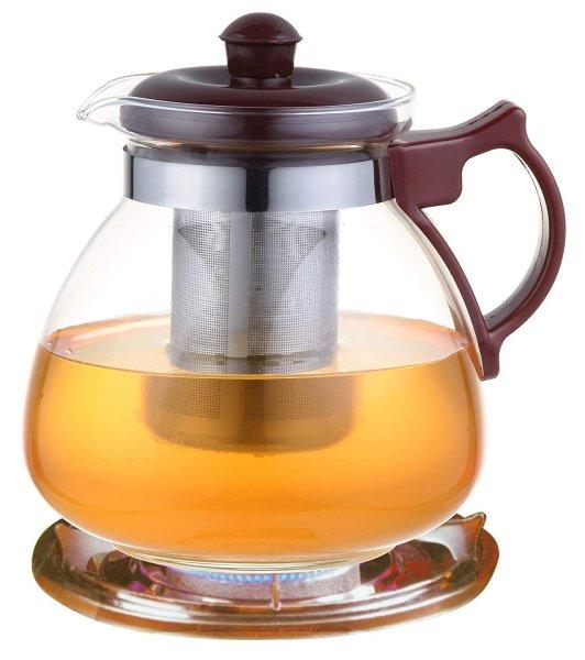 Borosilicate Glass Tea Pot Carafe with Strainer - 1050 ML