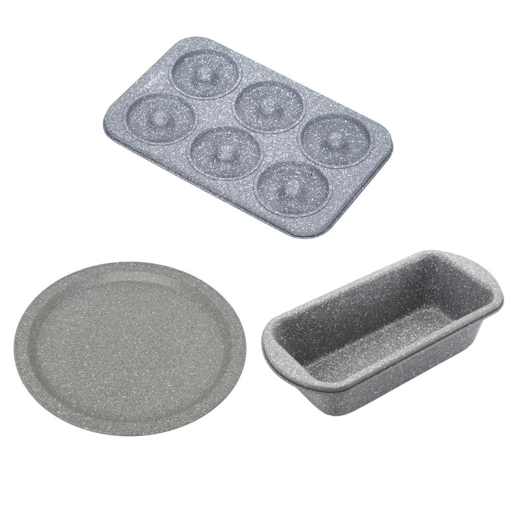 Carbon Steel Stone Ware Non-Stick Coated Baking Donought Tray, Big Loaf Pan and Pizza Pan- Set of 3