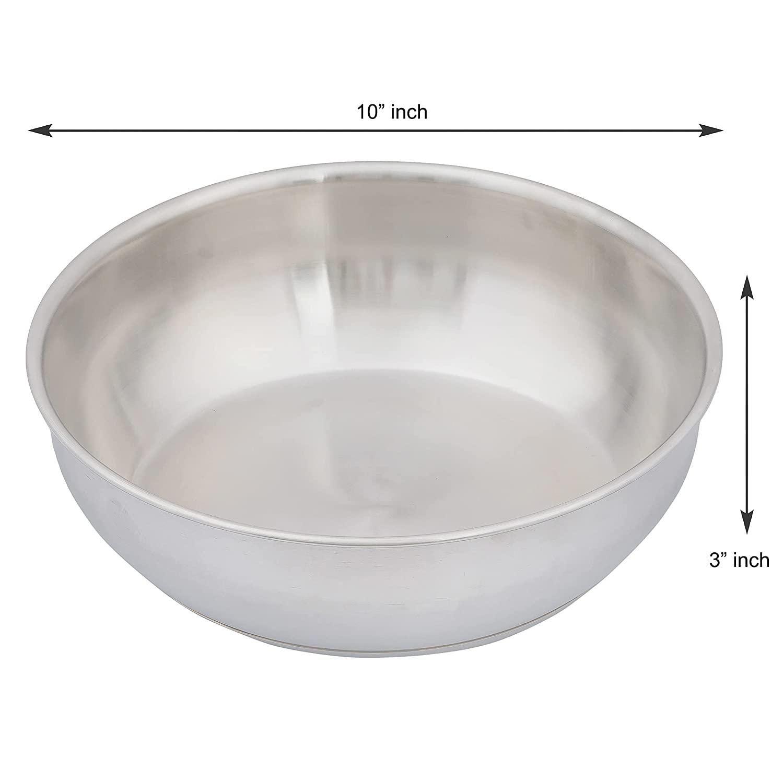 Stainless Steel Flat Kadhai Tasla, Bonded Tri-Ply Bottom, 26 cm,Silver, Zero Coating, Health Safe