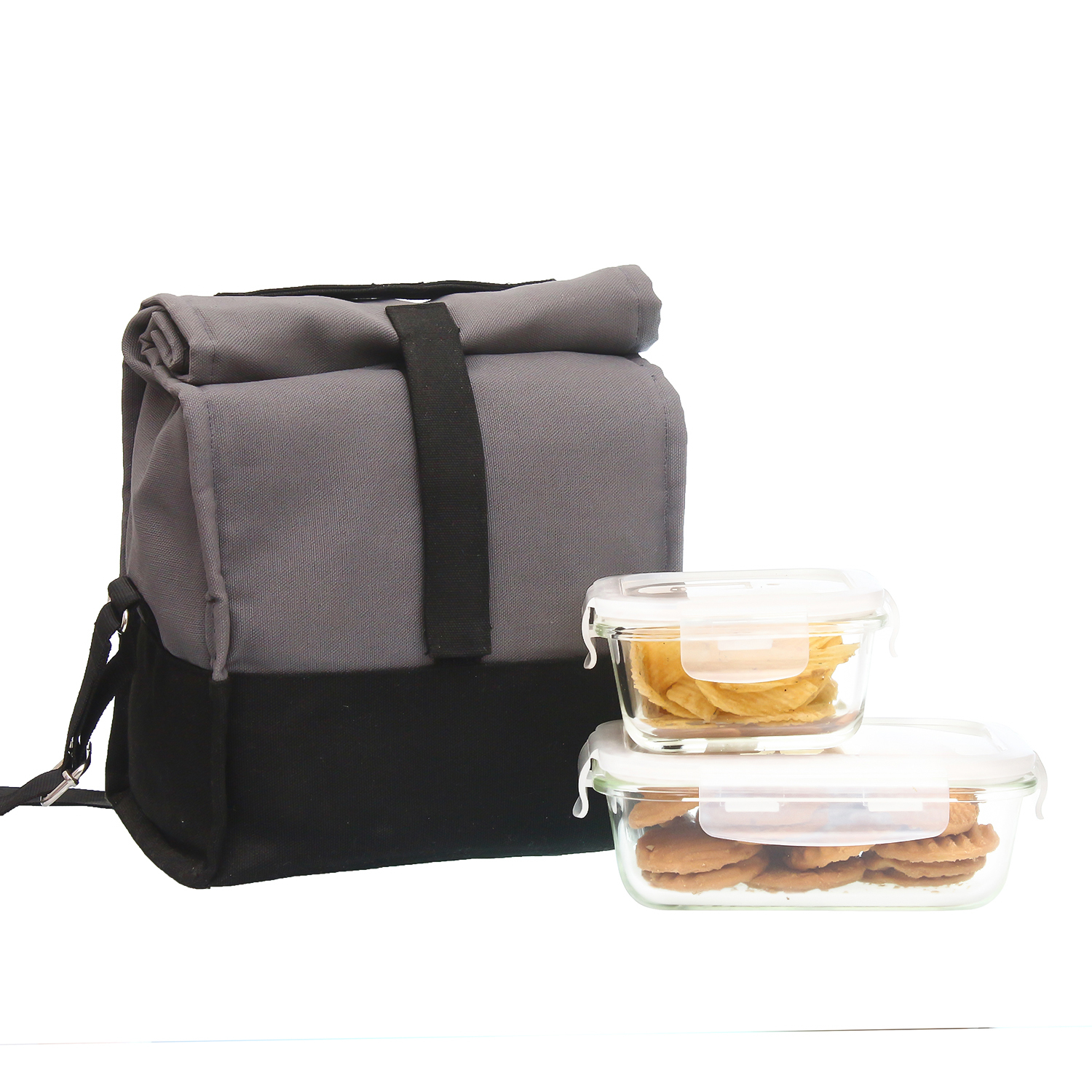 Borosilicate Glass Container Grey Black Lunch Box , Rectangle - 640ML, Square - 300ML , Set of 2