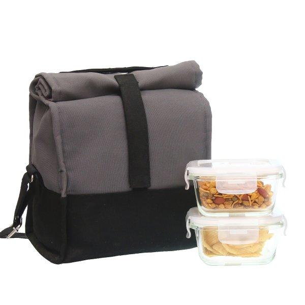Borosilicate Glass Square Container Grey Black Lunch Box-300 ML, Set of 2