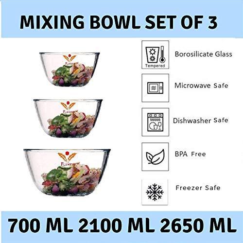 Borosilicate Glass Round Mixing Bowl 2100 ML_700 ML_2650 ML, Set of 3