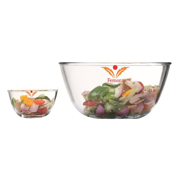 Borosilicate Glass Round Mixing Bowl 400ml,2100ml, Set of 2