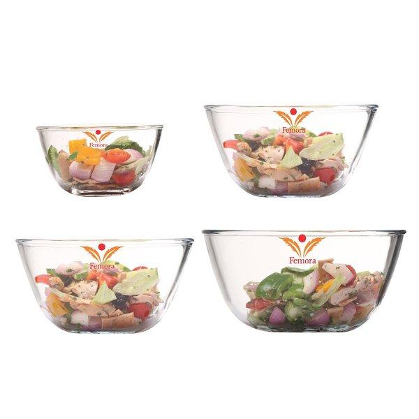 Borosilicate Glass Round Mixing Bowl 400ml,1050ml,1650ml,2100ml, Set of 4