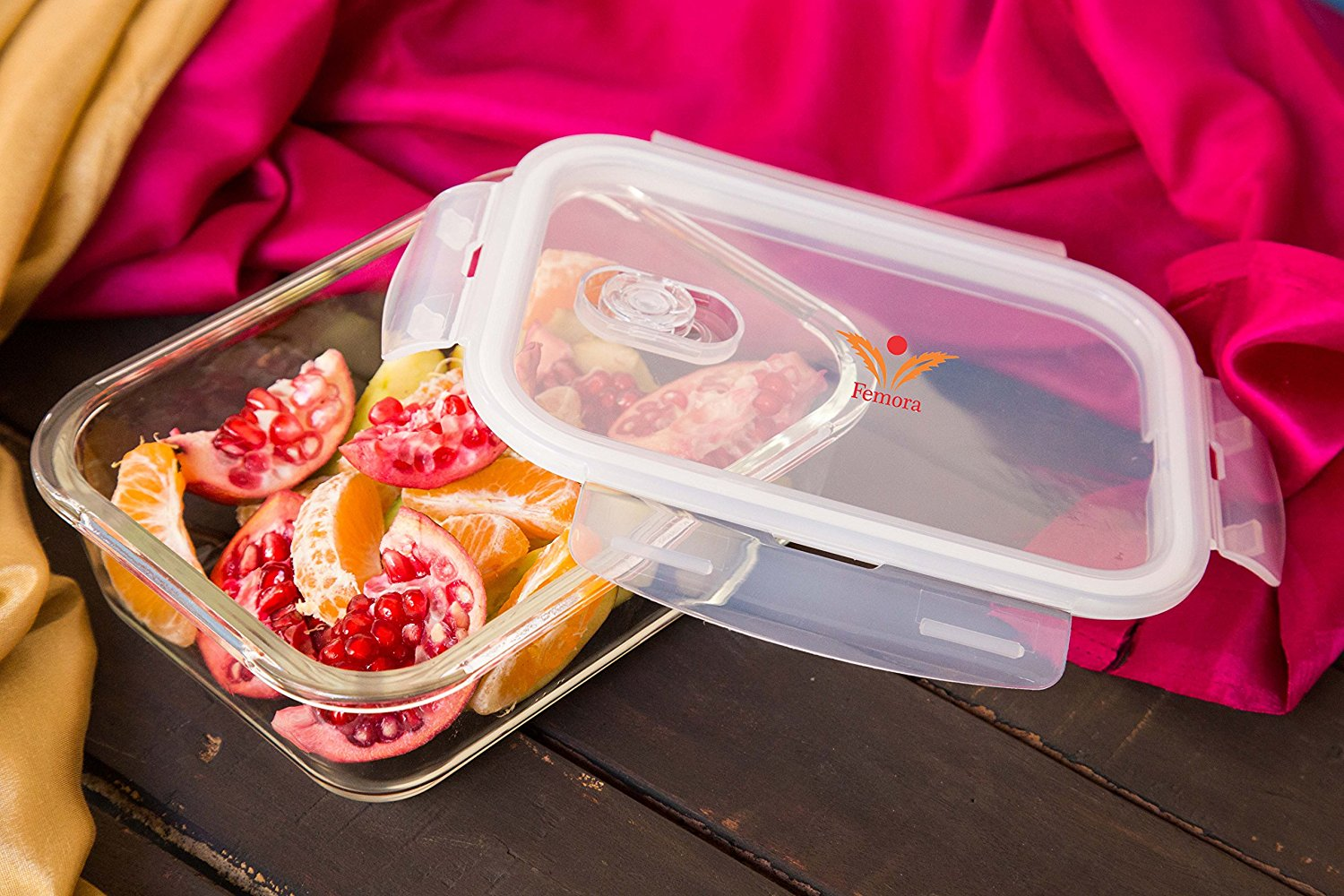 Borosilicate Glass Rectangular Storage Container with Air Vent Lid - 400ml, 620ml- Set of 2