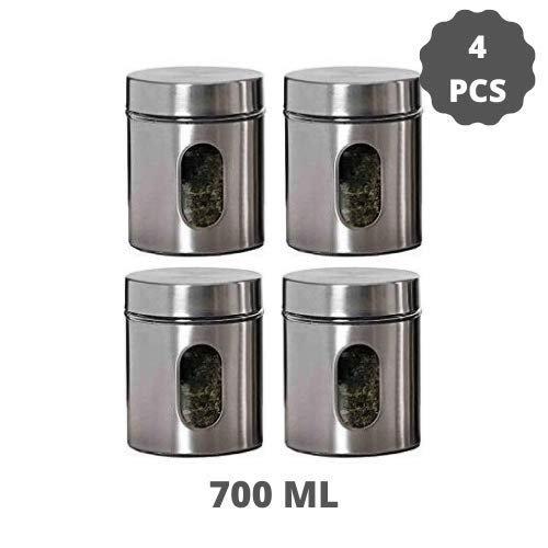 Clear Glass Steel Storage Window Jars - 700ML - Set of 4