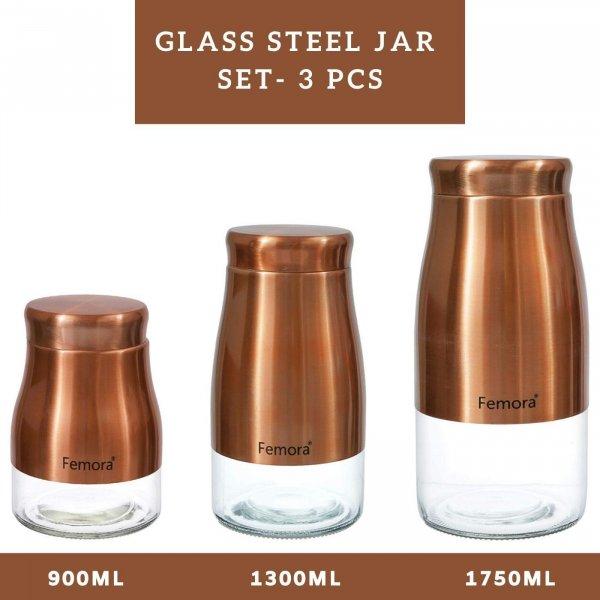 Clear Glass Gold Metallic Steel Glass Jars - 900ML,1300ML, 1750ML, Set of 3