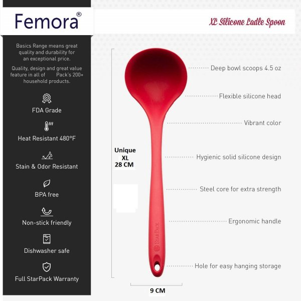 Silicone Premium Slotted Spoon, Big Spatula, Food Tong, Laddle with Grip Handle