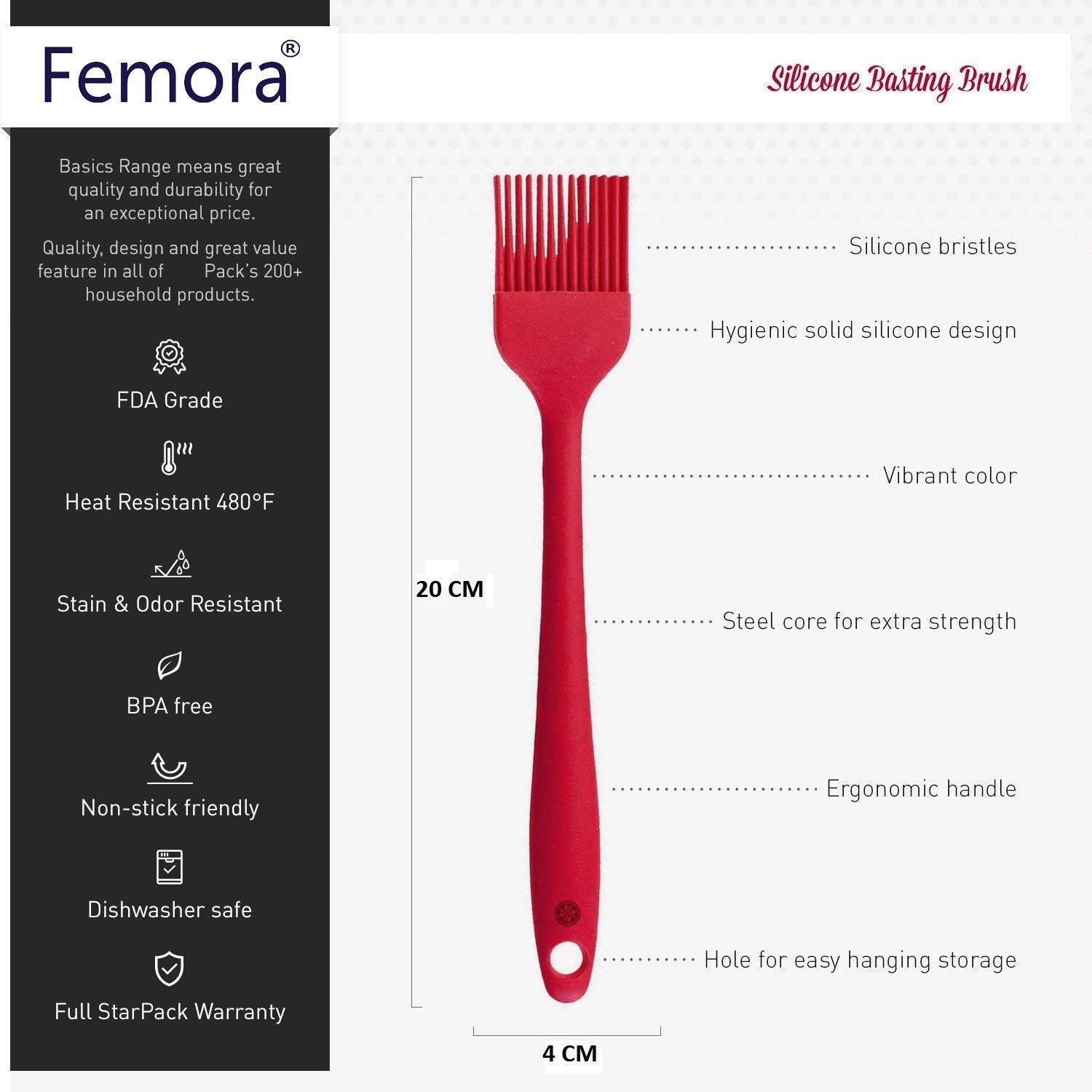 Silicone Premium Egg Whisk, Slotted Turner, Spoon, Brush with Grip Handle, Set of 4