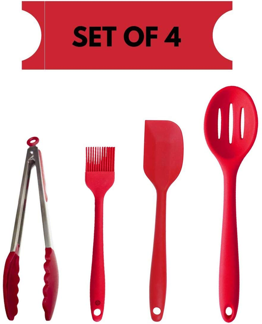 Silicone Premium Slotted Spoon, Big Spatula, Brush, Food Tong with Grip Handle,  Set of 4
