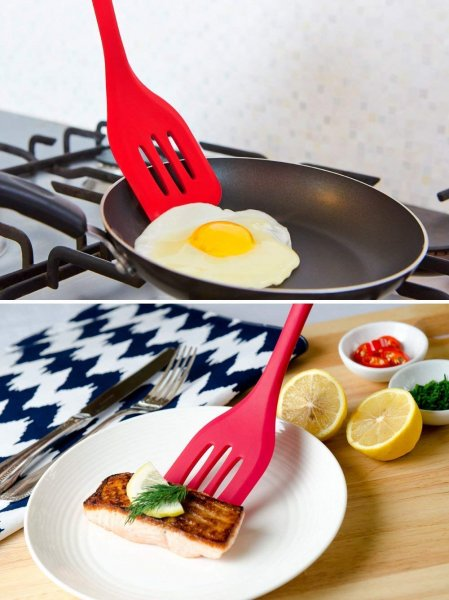 Silicone Premium Slotted Turner with Grip Handle