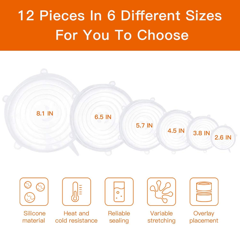 Silicon Flexible Microwave Safe Lids - 6Pcs
