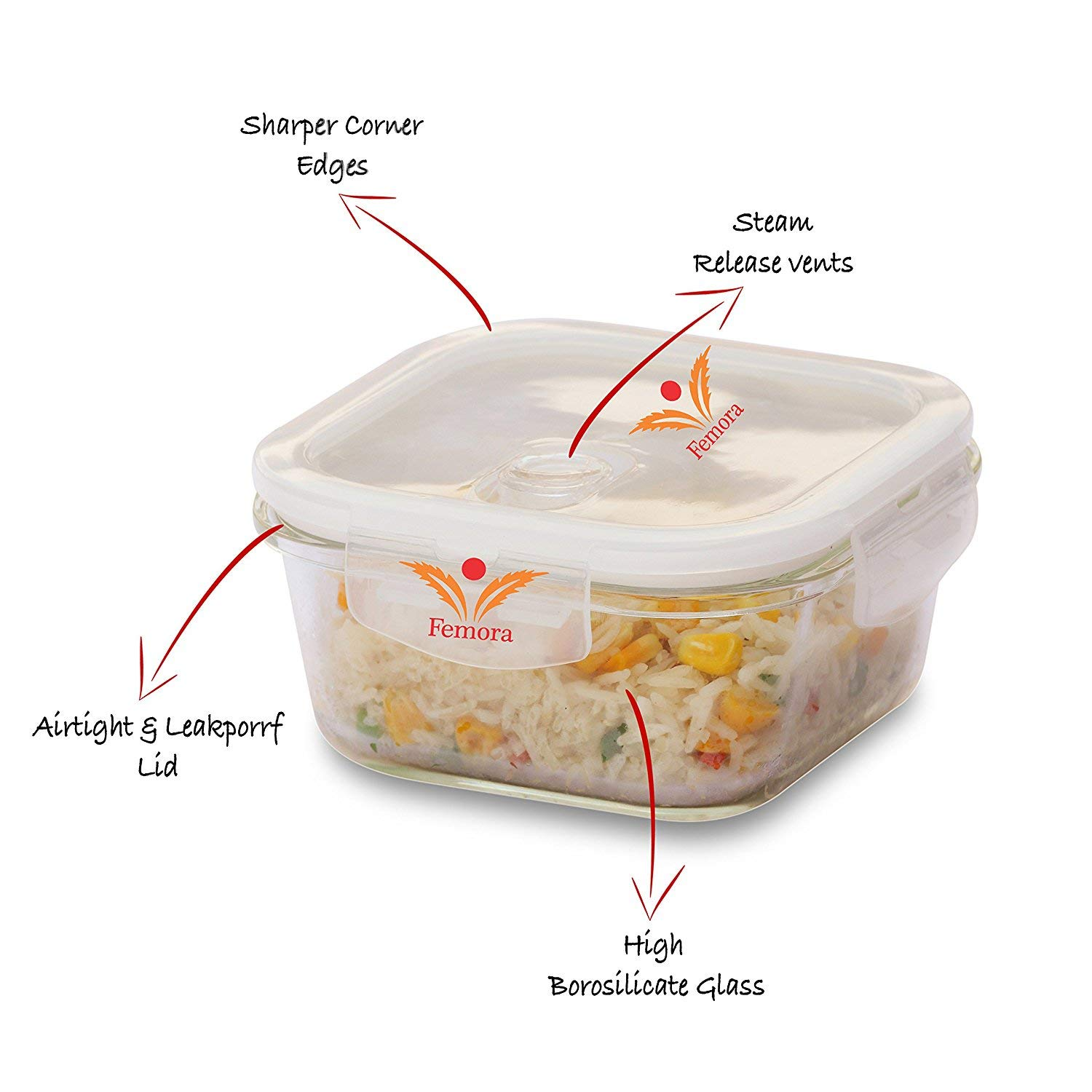 Borosilicate Glass Microwave Safe Square Container, 300 ml - Set of 2