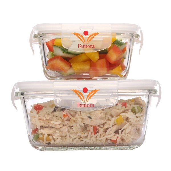 Borosilicate Glass Square Container with Air Vent Lid, 500 ML, 800 ML, Set of 2