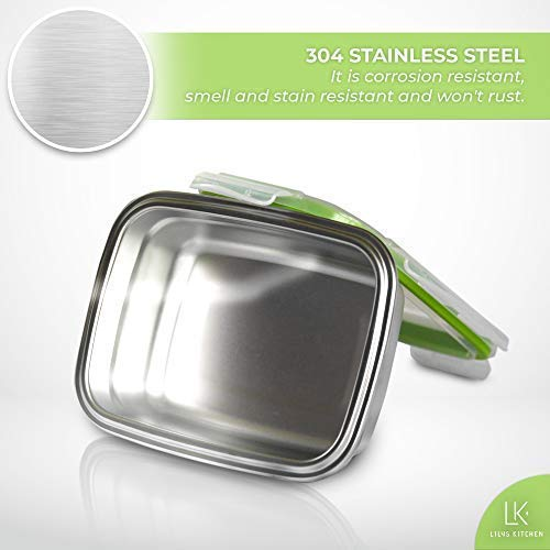 High Steel Rectangle Container with Lock Lid for Kitchen, Storage, Lunch Box - 850ml Set of 3