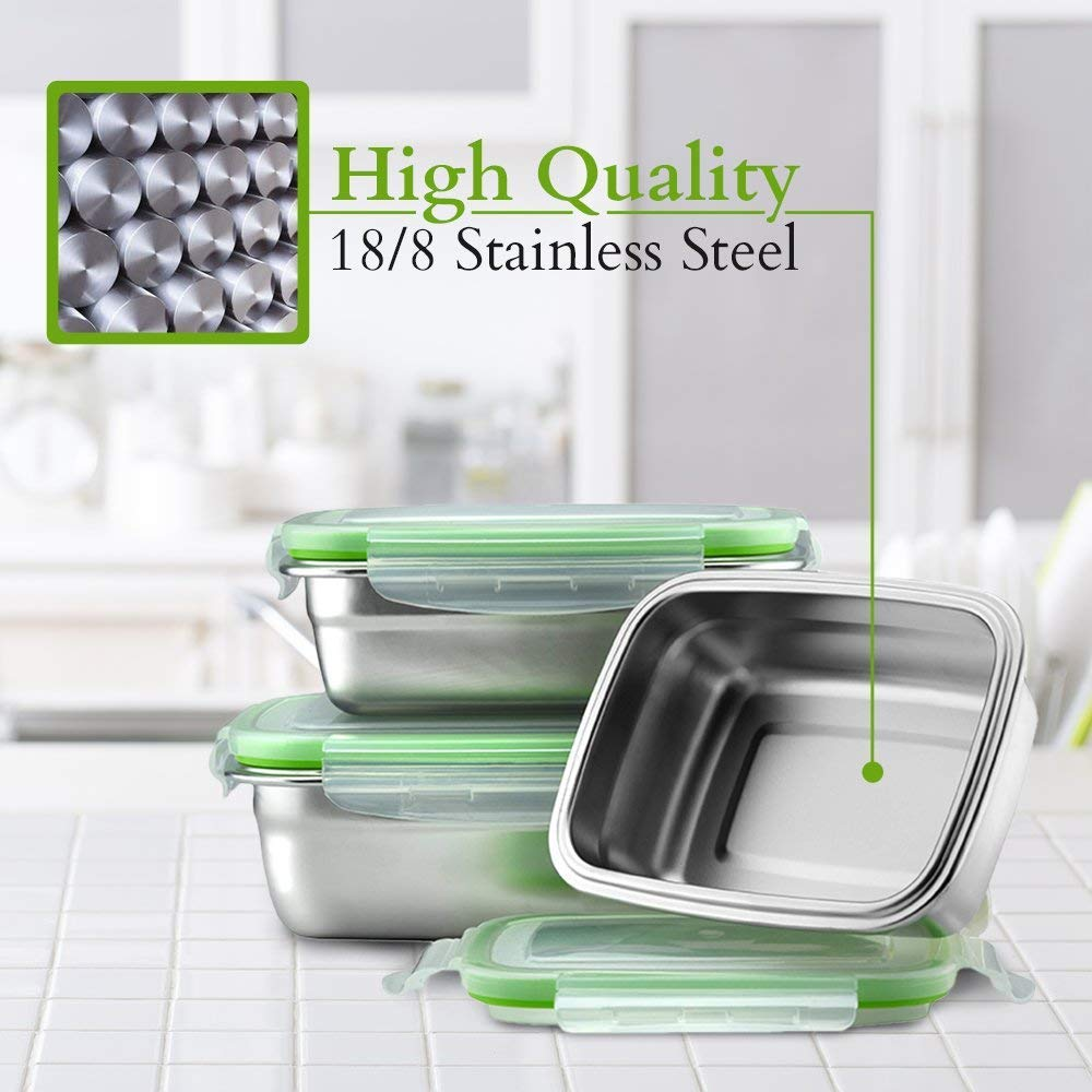 High Steel Rectangle Container with Lock Lid for Kitchen, Storage, Lunch Box - 850ml Set of 2