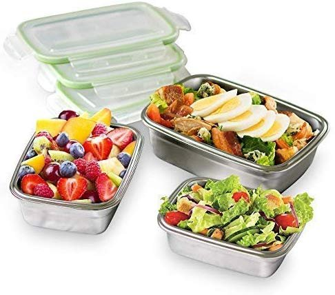 High Steel Rectangle Container with Lock Lid for Kitchen, Storage, Lunch Box - 550ml Set of 2
