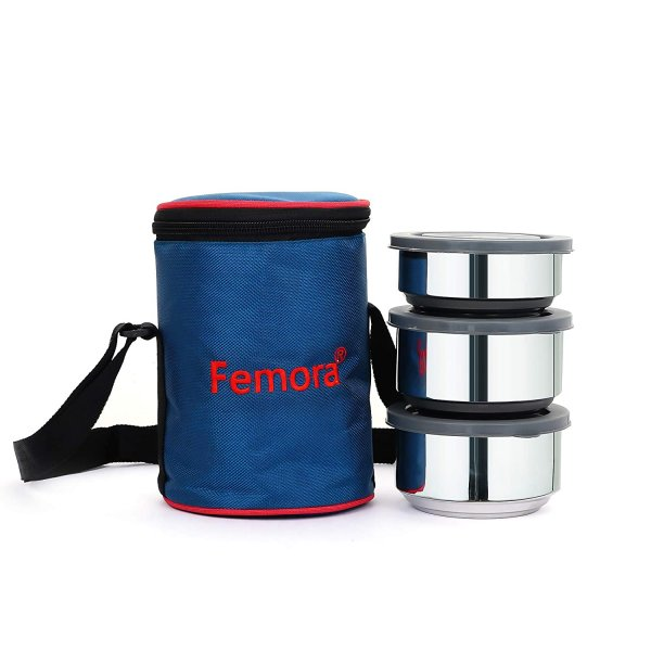 Fresh Stainless Steel Double Wall Lunch Box - Set of 3