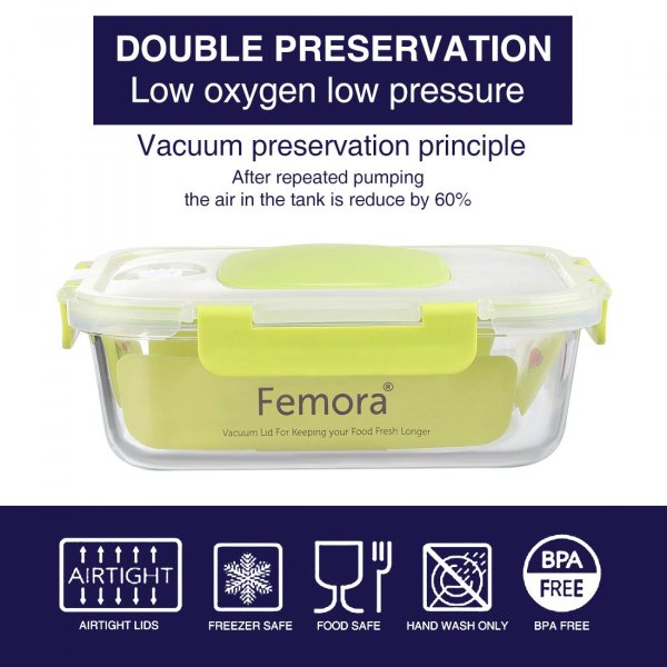 Borosilicate Glass Rectangle Container with Vacuum Pump Lid- 1050ml, Set of 2