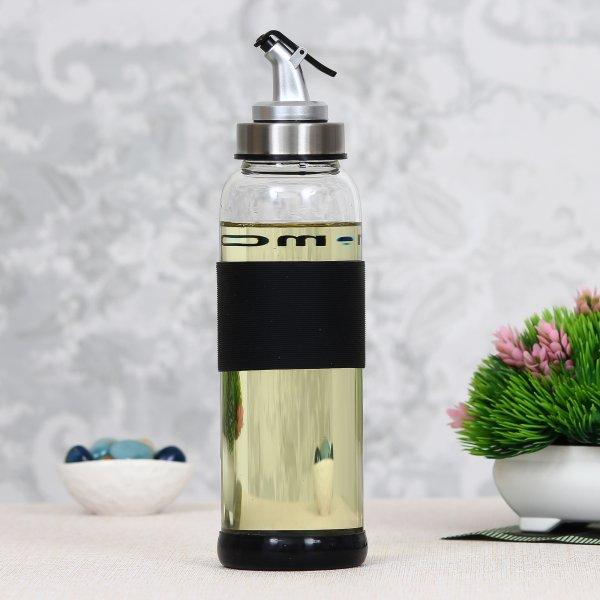 Borosilicate Glass Oil Bottle Jar Dispenser- 500ml - Set of 2