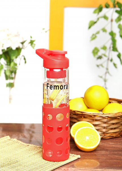 Borosilicate Glass Red Bottle With Fruit Infuser - 700ml