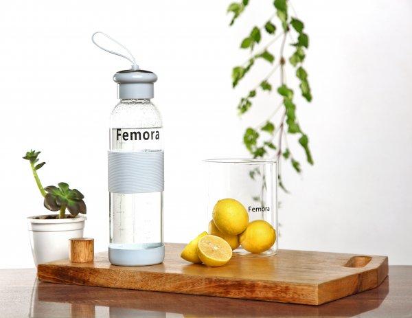 Borosilicate Glass Blue Grey Bottle- 500ml