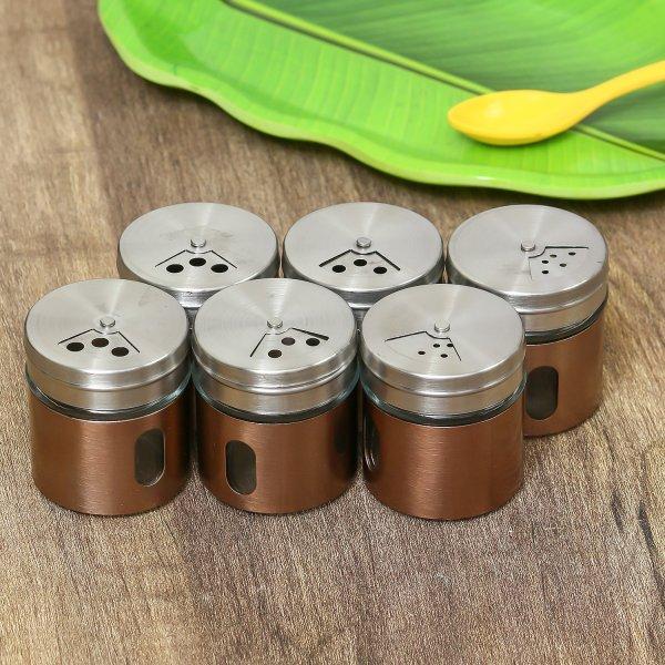 Clear Glass Steel Storage  Jar - 30 ML, Set of 6pcs