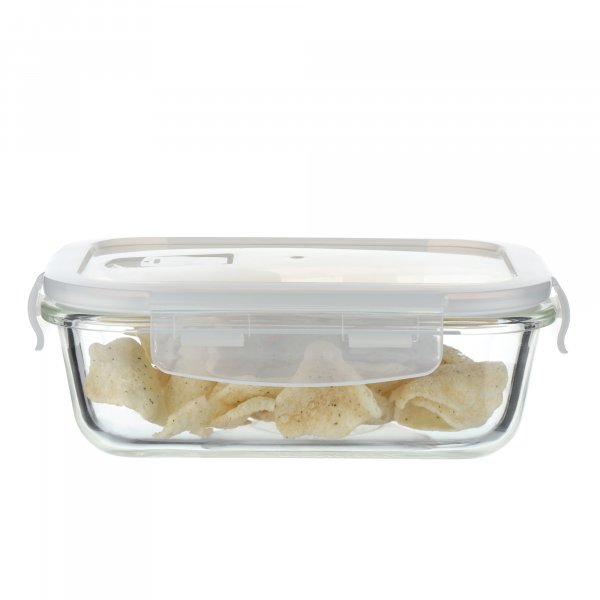 Borosilicate Glass Rectangular Container with Air Vent Lid, 620 ML