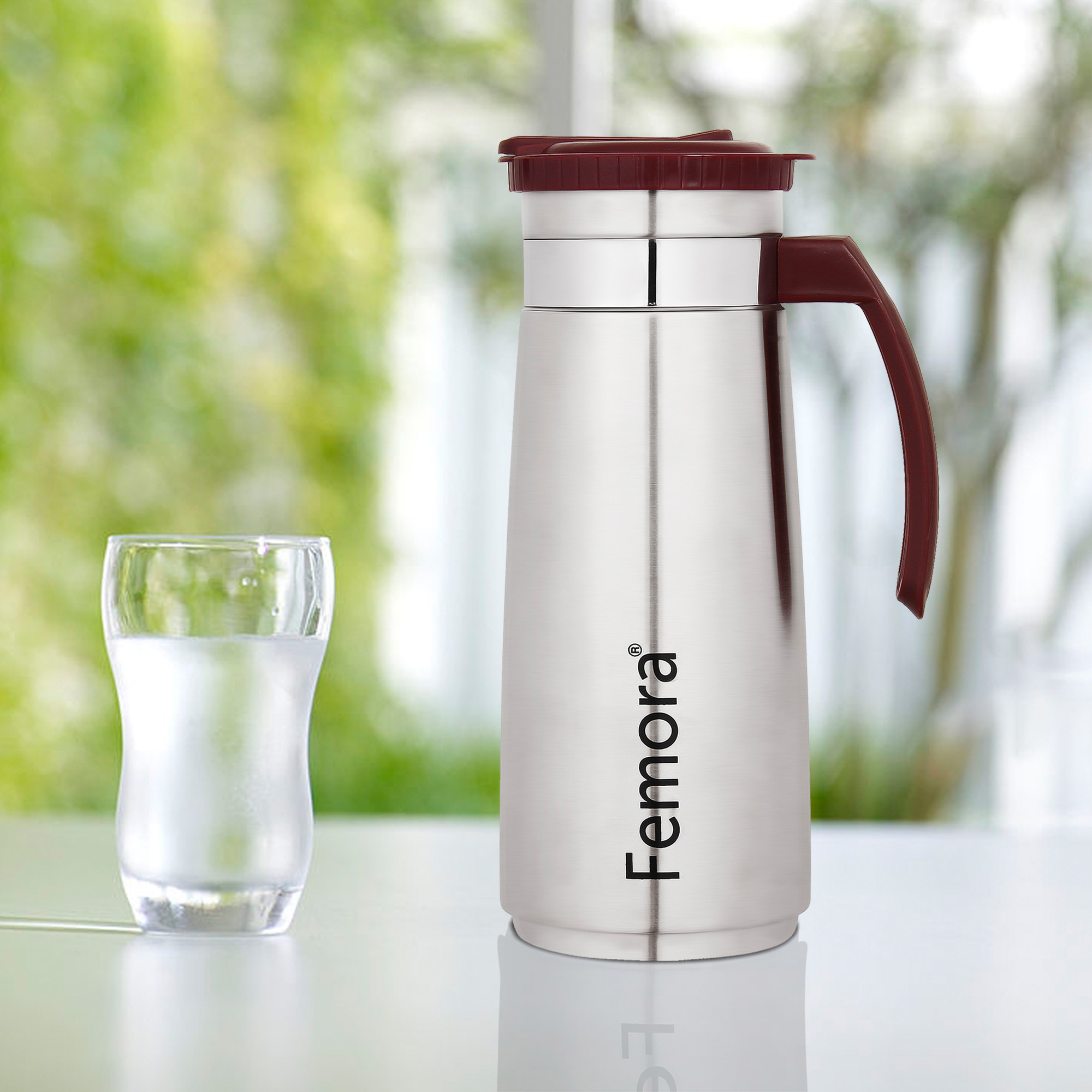 Stainless Steel Stylo Jug with Handle, Maroon - 1.2 L