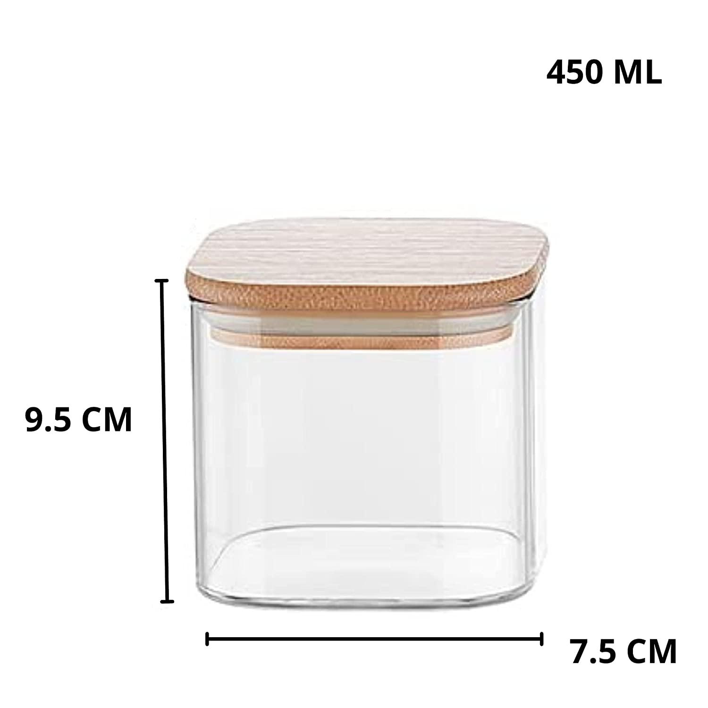 Borosilicate Glass Bamboo Lid Air Tight Jar - 450 ML, Set of 4
