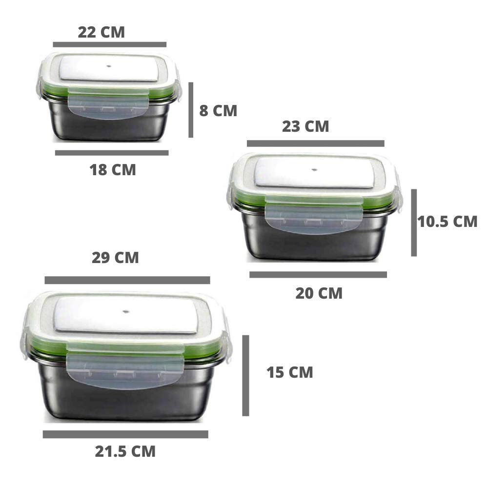 High Steel Rectangle Container with Lock Lid Lunch Box for Office, Storage, Lunch Box - 1800ml, 2800ml, 3800ml, Set of 3