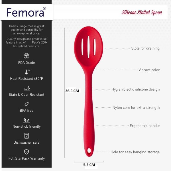 Silicone Premium Slotted Spoon with Grip Handle, Set of 2