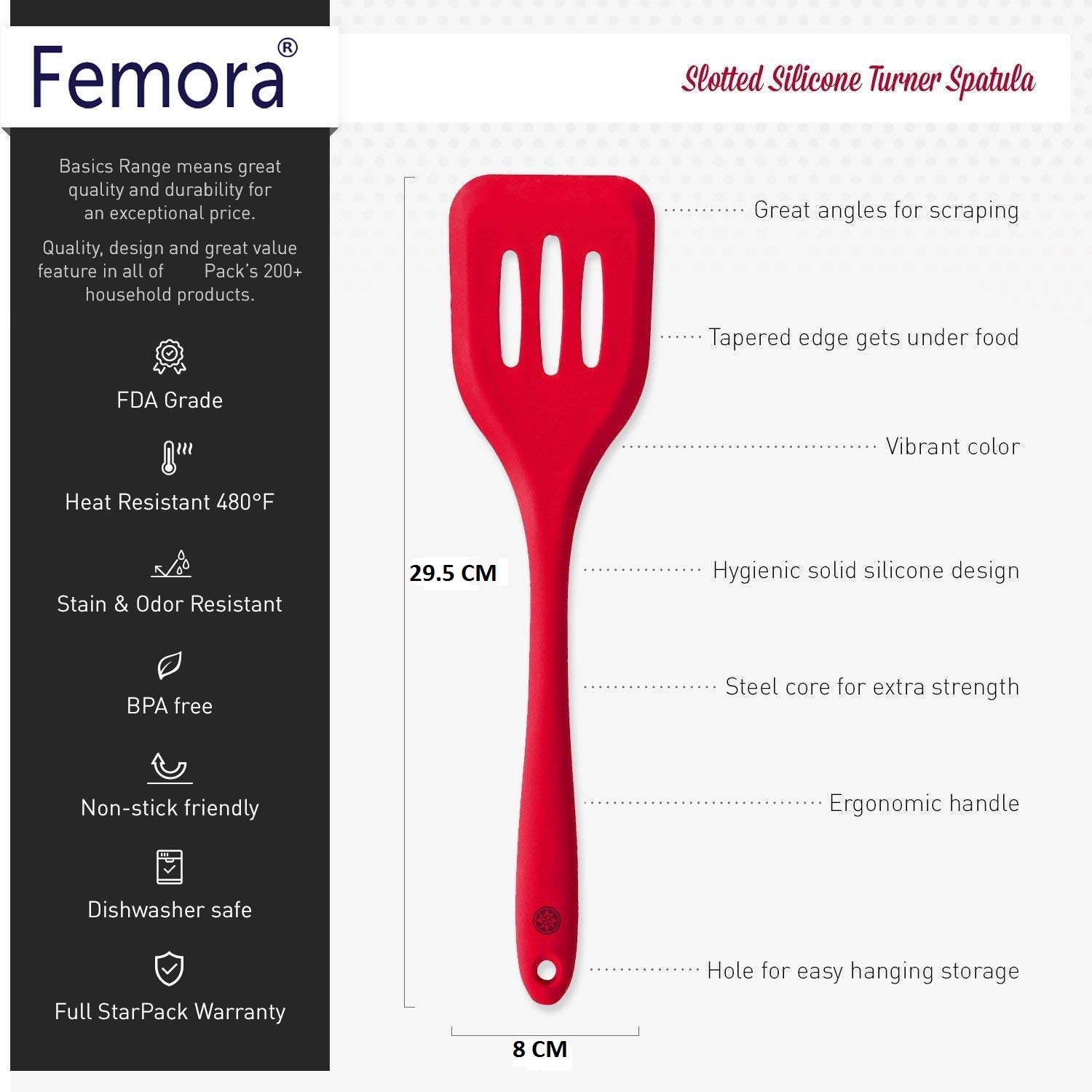 Silicone Premium Slotted Turner with Grip Handle, Set of 2