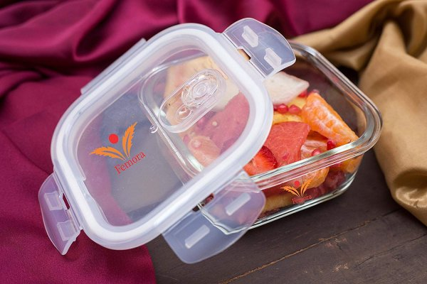 Borosilicate Glass Square Container Camel Black Lunch Box-300 ML X 2, Set of 2