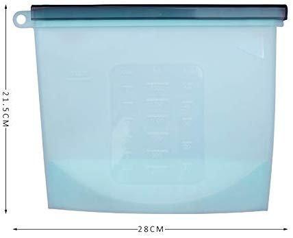Silicone  Ziplock  Microwave Safe Storage Bags - 1500 ML - Set of 2