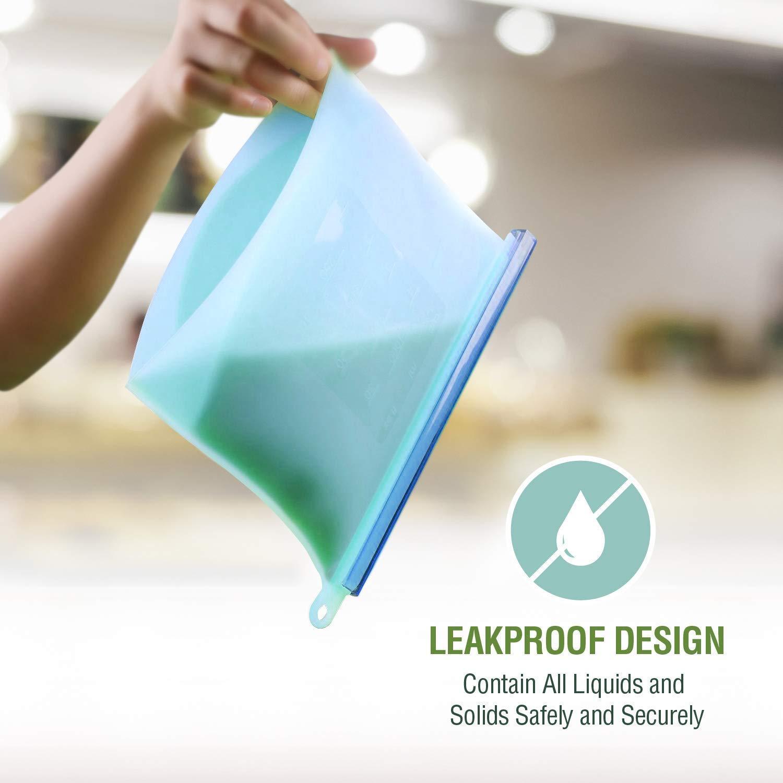 Silicon Leak Proof Ziplock Storage Bags  Microwave Safe - 1000 ML - Set of 2