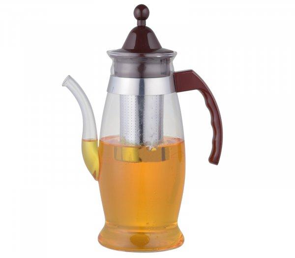 Borosilicate Glass Tea Pot Carafe with Strainer, Flame Proof  - 1100 ML